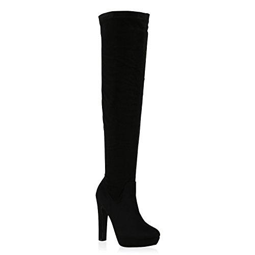 Overknees Damen Plateau Stiefel High Heels Sexy Stilettos Schuhe 128665 Schwarz 38 | Flandell® (Sexy Overknee Stiefel)