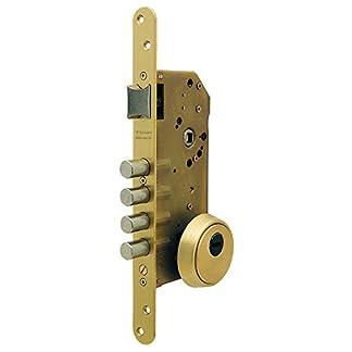 Tesa Assa Abloy R200B567N Cerradura De Seguridad Monopunto Con Cilindro T60, Latonado, Cil.30x40mm, Set de 6 Piezas