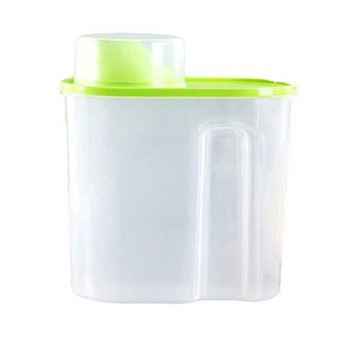 PTOBBA Kunststoff Cerealienspender Aufbewahrungsbehälter-Küche-Nahrungsmittelkornreis Container Küche Mehl Korn Reis Aufbewahrungsbehälter mit Measure Cup, grün, S
