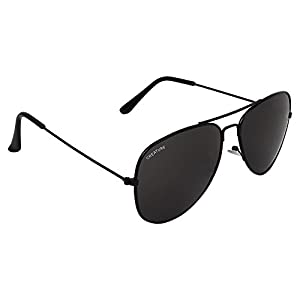 Creature Basic Black Aviator Uv-Protected Unisex Sunglasses(Lens-Jet-Black||Frame-Black||SUN-004)
