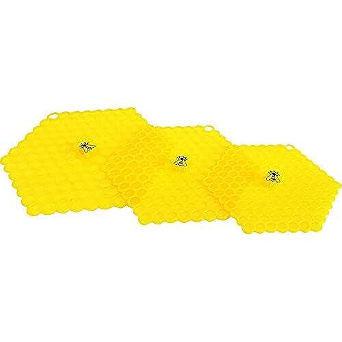 dia del orgullo friki 100 Goods Silicona abeja en el panal Todo tipo de clima Tapa de succión , 5 6 7, Conjunto de 3 amarillo
