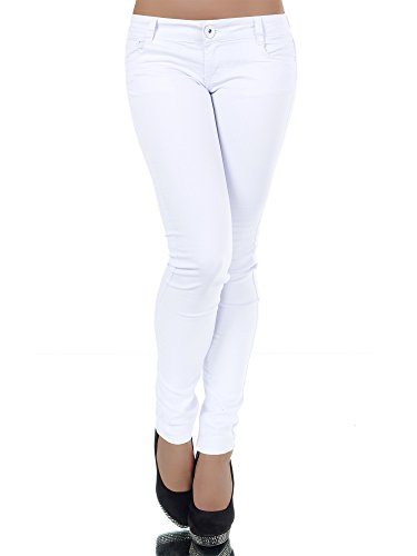 L909 Damen Jeans Hose Hüfthose Damenjeans Hüftjeans Röhrenjeans Röhrenhose Röhre, Farben:Weiß;Größen:42 (XL) (Low Rise Stretch Cord Hose)