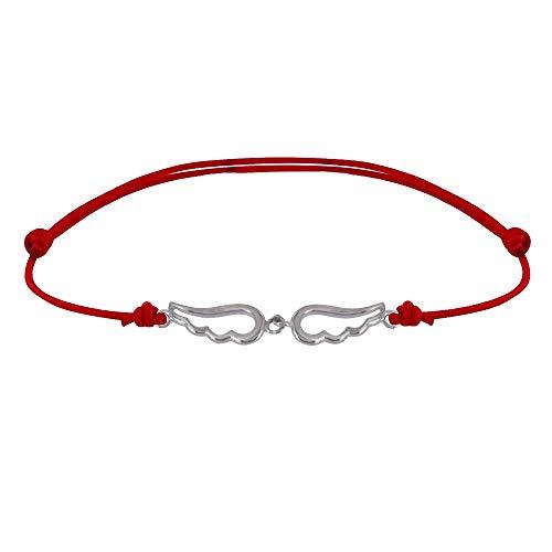 Schmuck Les Poulettes - Sterling Silber Link Armband Zwei Kleine Engelsflügel Durchbohrt - Rote