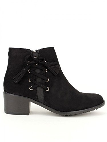 Cendriyon, Bottine Daim noir DAYNES Chaussures Femme Noir