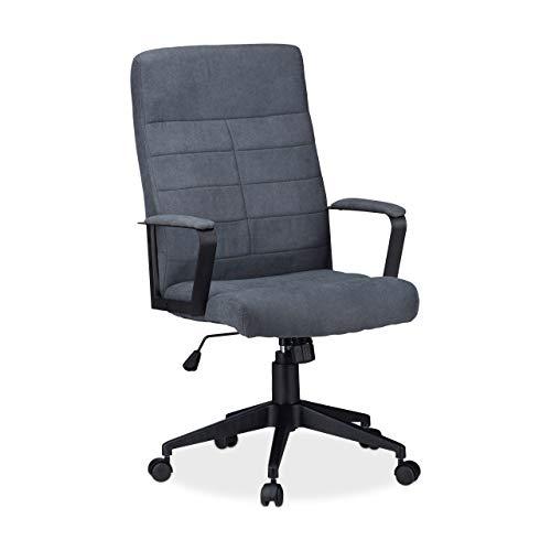 Relaxdays Bürostuhl, höhenverstellbarer Drehstuhl, ergonomisch, bequem, 120 kg belastbar, HxBxT: 116 x 62 x 62 cm, grau -