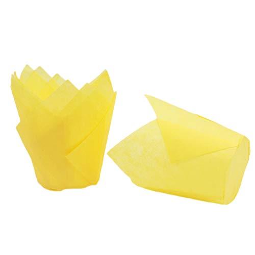 Monbedos 250pcs Tulpe Kuchen Pappbecher Becher Tasse Backen Hohe Temperaturbeständigkeit Kuchen Pappbecher