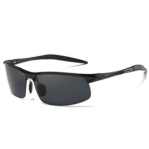 TOOSD Polarisierte Sportbrille Radsport-Brillen Mit Brillen-Etui Al-Mg Metall Rahme Ultra Leicht 100% UV400 Schutz Fahren Sonnenbrille Outdoor Sportbrille,Black