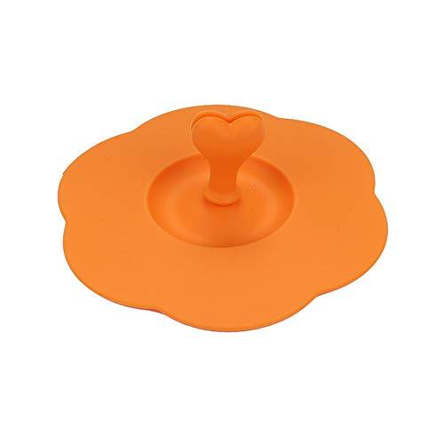 TianranRT Herz Silikon Auslaufsicher Kaffee Becher Saugen Deckel Kappe Luftdicht Siegel Tasse Abdeckung (Orange)
