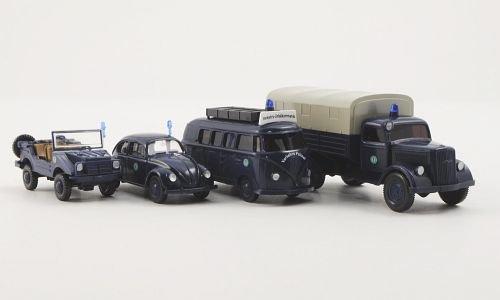 Set Berliner Polizei: VW 1200 Brezelkäfer, VW T1 Bus, DKW Munga und Opel Blitz Pritsche, Modellauto, Fertigmodell, Wiking / PMS 1:87