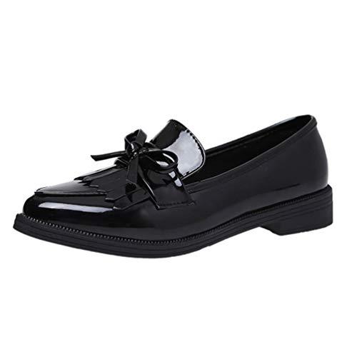 Frauen Freizeitschuhe Quaste Bow Spitz Oxford Wohnungen Bequeme Slip auf Loafers Schuhe