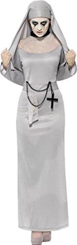 (Damen Halloween Fancy Kleid Sexy Gespenst, Gothic Zombie Nonne Kostüm Outfit, Grau)