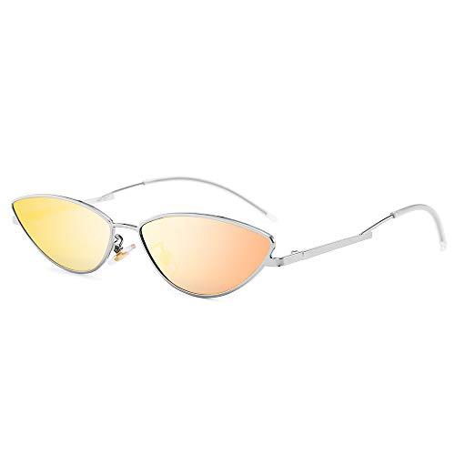 AMZTM Kleine Katzenauge Sonnenbrille - Vintage Mode Designer Sonnenbrillen für Mädchen Damen Silberrahmen Orange Rote Linse UV400 Schutz HD Vision Schlanke Sonnen Brillen