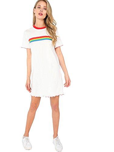 DIDK Damen Regenbogen Streifen Kurzarm T Shirt Kleider Weiß S - Regenbogen-streifen-shirt
