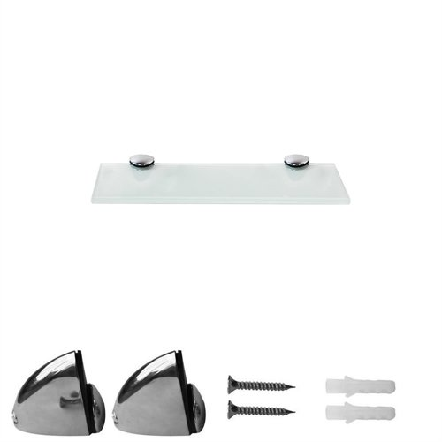 Glasablage + Halterung Weiß 20x10CM Badezimmerablage Spiegelablage Bad Regal