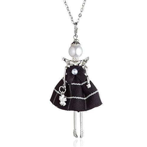 HAOJIUBUJIAN Engel Puppe Halskette Für Mädchen Perle Design Silber Farbe Flügel Bogen Kleid Anhänger Hals Kette Schmuck Trend -