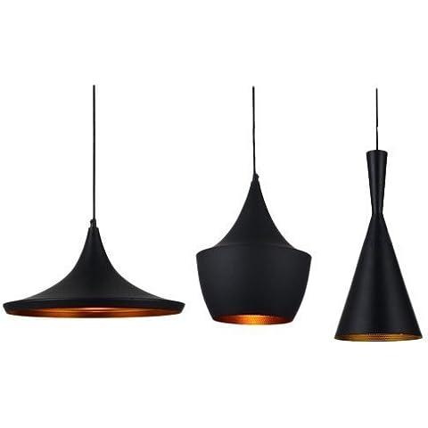 Industrial Hierro Aluminio Colgante de hilado de techo 3 luz de la lámpara de sombra Negro