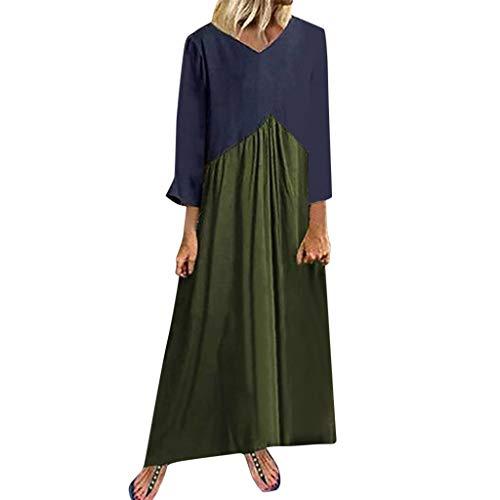 TPulling Frauen Retro Sommerkleid Ärmellos Sling Dress  Kurzärmeliges Retro-Kleid aus Baumwolle und Leinen im Ethno-Stil (Armeegrün, M) -