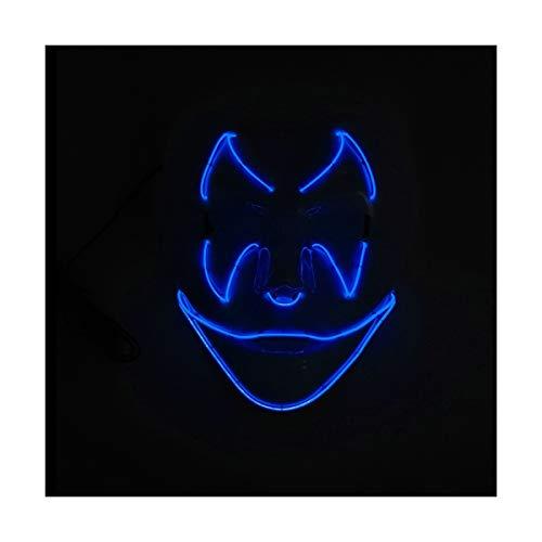 YOIO LED-Maske Fledermaus-Smiley-Party-Party EL Kaltes Licht Strahlenmaske, dunkelblau