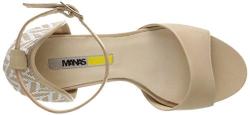Manas - Bellaria, Scarpe col tacco con cinturino a T Donna Beige (Beige (BEIGE+BEIGE))