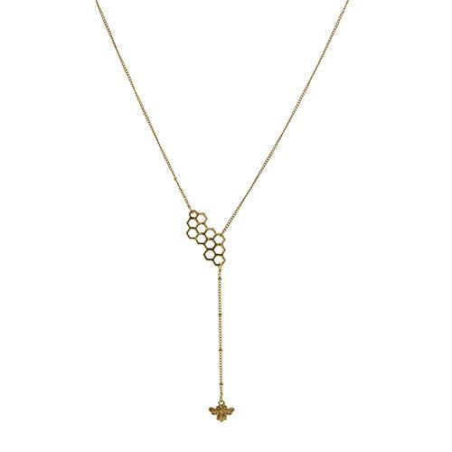 Meigold Halskette für Damen Mode Metall Halskette, personalisierte Biene Brief Pin Pearl Map Halskette, einfache geometrische Runde Ausschnitt Halskette,1 pcs(Gold-C) C-map Pc