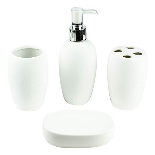 Mosa Criard - Bad Accessoire Set, 4-teilig, Keramik, modern schlicht, Seifenspender, Zahnputzbecher, Seifenschale, Zahnbürstenhalter in weiß, rot oder blau (Weiß) -