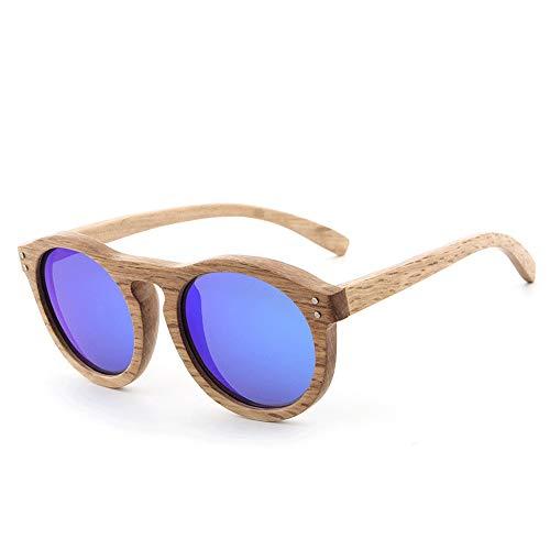 Beschichtete Holzbein Sonnenbrille Männer und Frauen polarisierte Gläser Vintage Runde Holz Sonnenbrille Brille (Color : Blau, Size : Kostenlos)