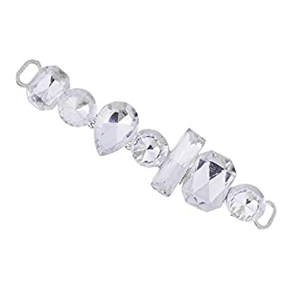 F Fityle Fashion Crystal Acrylic Rhinestone Button Chain DIY Sewing Accessories 88mm Length - White, 88 x 21mm