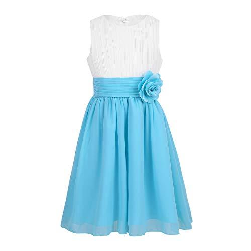 Tiaobug Festliches Mädchen Kleider für Hochzeit Sommer Brautjungfern Blumenmädchen Kinder Chiffon Kleid elegant zweifarbig Partykleid gr. 104-164 Weiß&Hellblau 122-128