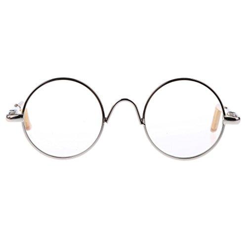 Gazechimp Puppenzubehör - Miniatur Brillen mit runde Metallrahmen & klare Brillengläser - Perfekt für 12 Zoll Puppen - Silber