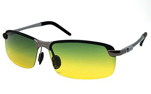 LZXC Herren Tag und Nacht polarisierte fahrende Sonnenbrille im Freiensport Brille Frühlings-Scharnier Unzerbrechliches ultra-helles AL-MG Feld HD Objektiv für Männer
