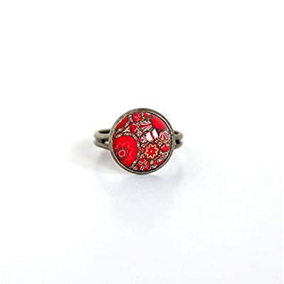 Petite bague cabochon, inspiration Hindou floral rouge, bronze