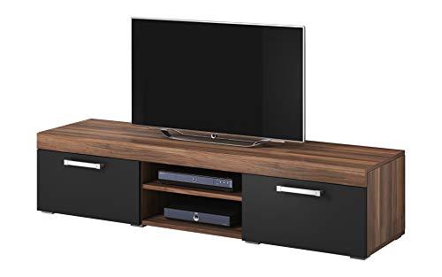 Tv mobile tv porta mobili supporto mambo noce / nero opaco , 160 cm
