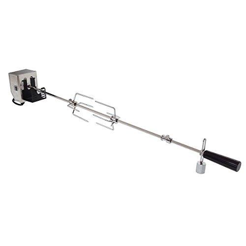 TAINO Grillspieß PRO Serie 90 cm 110 cm Universal Dreh-Spieß für Gasgrill inkl. Motor und Halterung 2X Fleischnadeln Rotisserie (110 cm)
