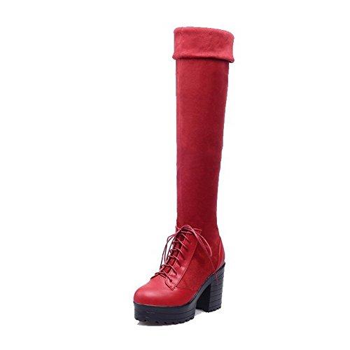 Odomolor Damen Reißverschluss Hoher Absatz Schließen Zehe Rein Hoch-Spitze Stiefel, Aprikosen Farbe, 37