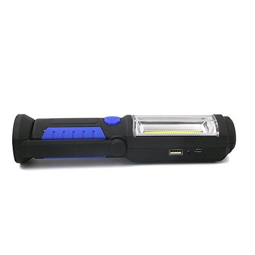 HUANGLP LED Arbeitsleuchte,Taschenlampe Werkstattlampe Cob,LED Camping Lantern Handlampe Mit Magnet Clip, Stromanzeige & USB-Ladekabel, Für Garage, Camping, Notfall Usw,Blue