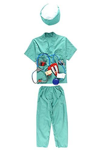 Chirurg Kostüm, Oberteil, Hose, Mütze, Blutdruckmessgerät, Chirurgisches Werkzeug und Stethoskop Blau Grün Kinder Jungen ()
