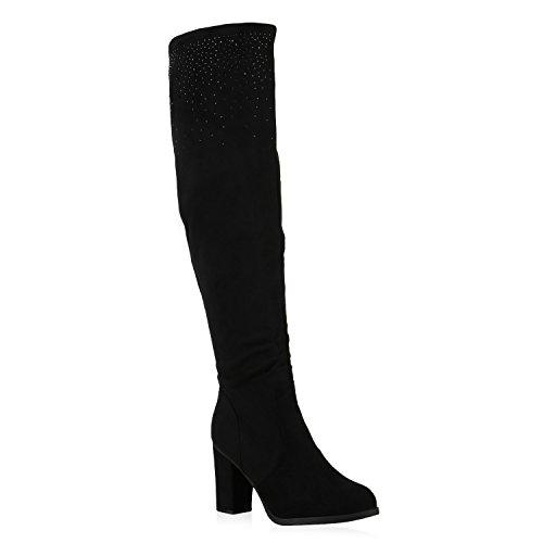 Damen Stiefel Overknees Velours Boots Strass Schuhe Schwarz