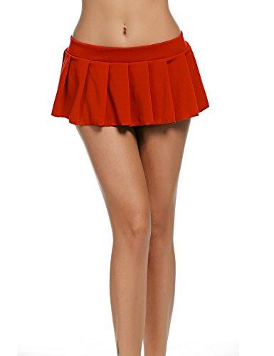 Avidlove Mini Rock Schulmädchen Skirt Damen Kurz Minirock Röcke Frauen Sexy Dessous Solid gefaltet Nachtwäsche Reizvolle (XL, Rot) -