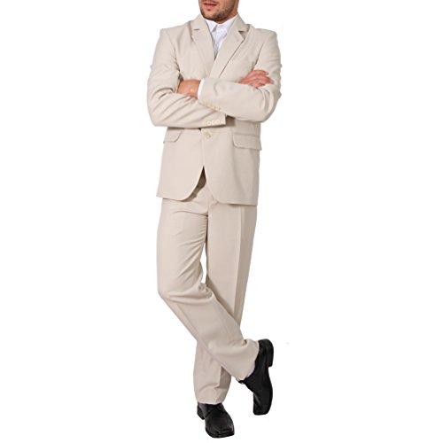 Candygirls Candygirls Regular Herren Anzug 3Teiler Sakko Hose Weste Büro Business Hochzeit H10 (46, Beige)