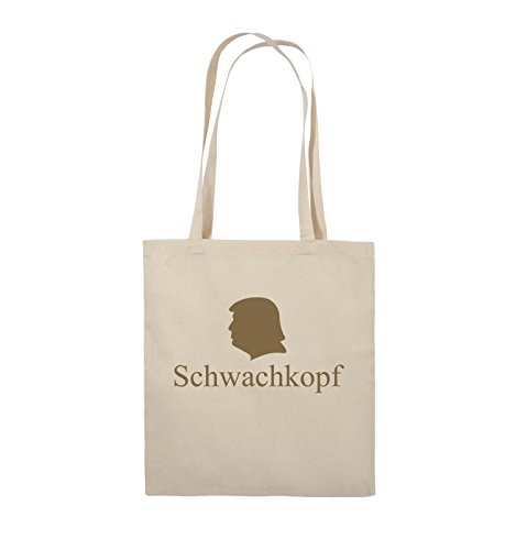 Comedy Bags - Schwachkopf - TRUMP - Jutebeutel - lange Henkel - 38x42cm - Farbe: Schwarz / Pink Natural / Hellbraun