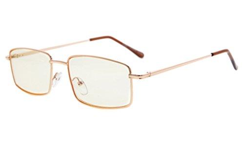 Eyekepper Spring Scharniere Anti-Blue Ray/Anti-Dehnung Computer Brillen (Gold/Bernstein getönten Linse, 0,00)