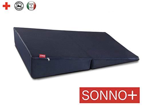 SONNO+ Reisekeil, Keilkissen für Bett, Matratzenerhöhung, Anti-Reflux Reisekeil für Erwachsene, Keil Relaxkissen, Reisekissen für einfachere Verdauung (cm 70 x 104 x 20) -