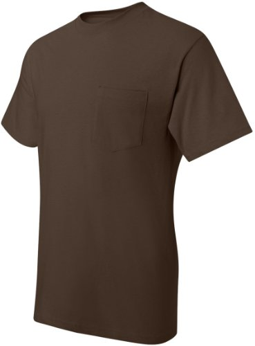 Hanes Men's Beefy-T T-Shirt With Pocket Dark Chocolate