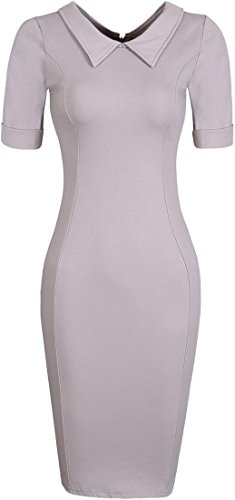 Jeansian Femme Cocktail Party Dress Sexy Fashion Crayon Casual Slim Dress Robes WKD173 gray