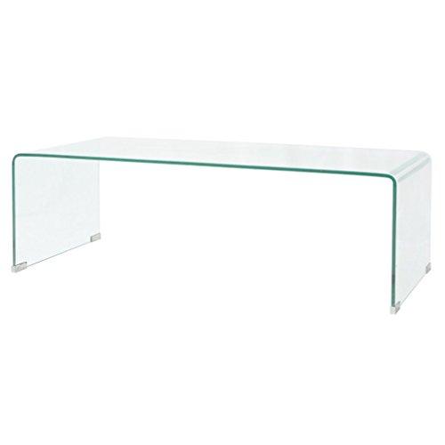Festnight tavolino da caffè/tavolino salotto in vetro temperato 100x48x33 cm nitido