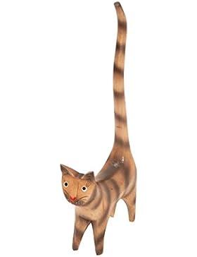 Ringkatze aus Albesia-Holz bunt bemalt, Holz-Katze, Grösse:ca. 20 cm