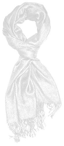 Lorenzo Cana Designer Herrenschal hochwertiger Marken Schal jacquard gewebtes Paisley Muster 60 cm x 200 cm Viskose Schaltuch Weiss Schal Tuch 9326911 Designer-schal