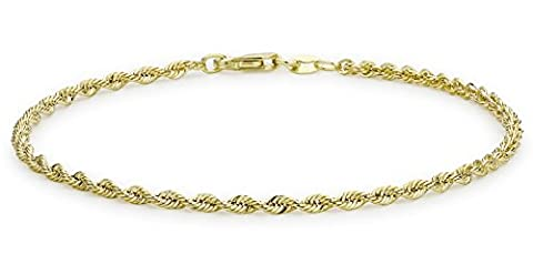 Carissima Gold 9ct Yellow Gold Semi Hollow Rope Bracelet of 18cm/7