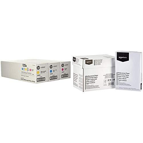 HP 125A 3er-Pack (CF373AM) Cyan/Magenta/Gelb Original Toner für HP Color Laserjet CP1215, CP1515, CM1312 & AmazonBasics Druckerpapier, DIN A4, 80 g/m², 5x500 Blatt, Weiß -