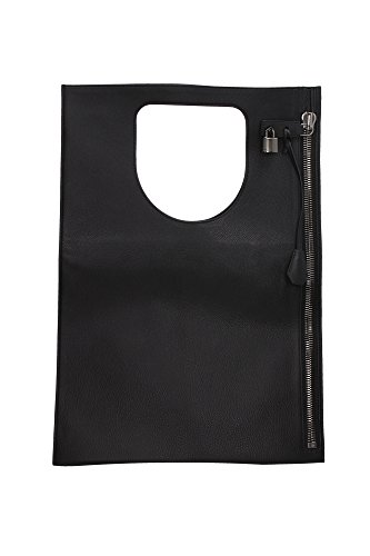 Bolso de Mano Tom Ford Mujer Piel Negro y Plata L0342RGLTBLK Negro 3x40x58 cm